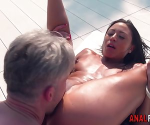 European babe gets rimjob and ass fucked before getting cumshot