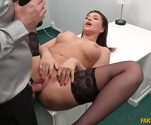 Busty Brunette Anna Polina Strips, Sucks And Fucks At Casting