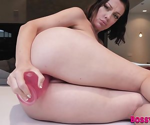 Dildo fucking milf with big boobs in pov shows how to jerk cock