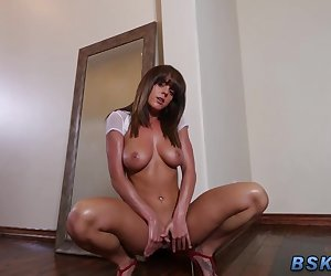 Pretty pornstar gets railed and gobbles dick and gets facialized