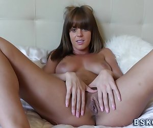 Pussy fingered and licked brunette rides and sucks cock for cum in mouth