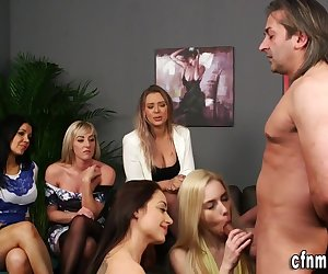 Glam clothed domina brits suck and jerk naked losers dick in fetish group