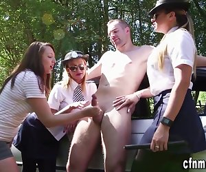 Uniformed fetish five oh dominas jerk and humilate perp outdoors
