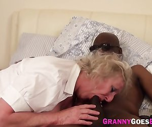 Grannies in highschool uniform interracially fuck and suck in group