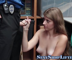 Teen shoplifter fingered and fucked by mall cop for cum in mouth
