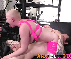 Anal sluts getting rimmed and sucking dick during kinky threesome