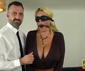 Whipped bound submissive milf with huge tits gets anally plowed by Pascal White