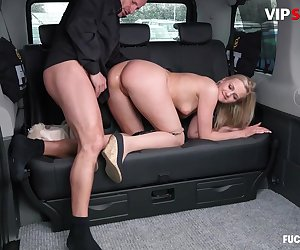 Blonde Teen Gets Fucked Wild And Hard By Her Taxi Driver During Her Ride.